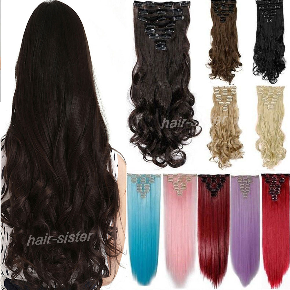 Larger Color & Length 8 piece Full Head Clip in Hair Extensions Curly/Wavy For Human Party/Cosplay/Gift Hair Extension(China (Mainland))