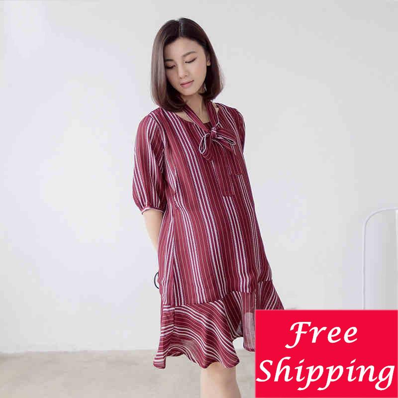 Фотография Korean Maternity Clothes Breastfeeding Summer Dresses For Pregnant Women Clothing Nursing Striped Maternity Dress Skirt 502092