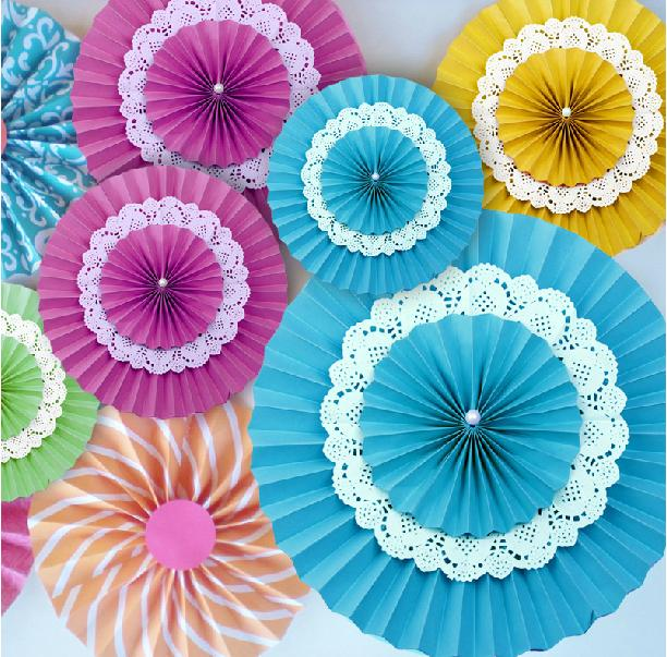 Colorful 10pcs/lot 35cm 14inch Lser Cut Lace Tissue Paper Fan Wedding Birthday Party Decorations Home Decorative Event Supplies(China (Mainland))