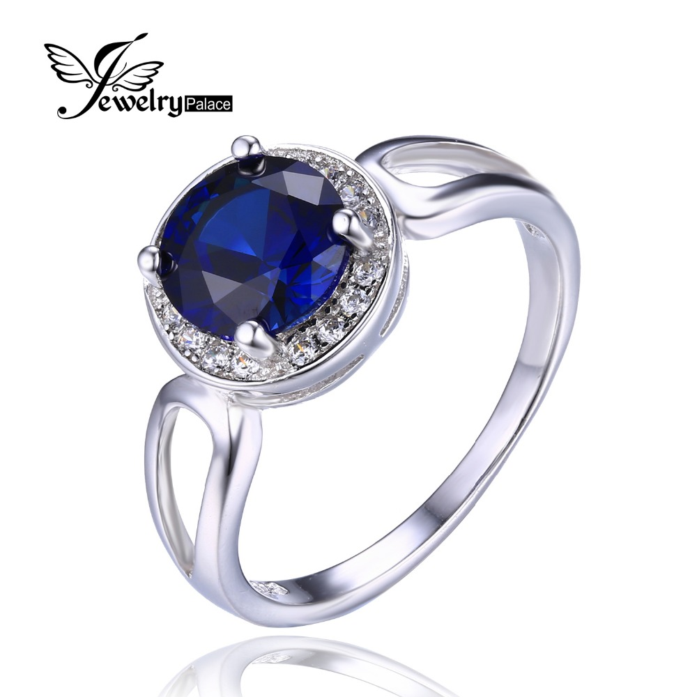 jewelrypalace round blue sapphire ring genuine 925. Black Bedroom Furniture Sets. Home Design Ideas