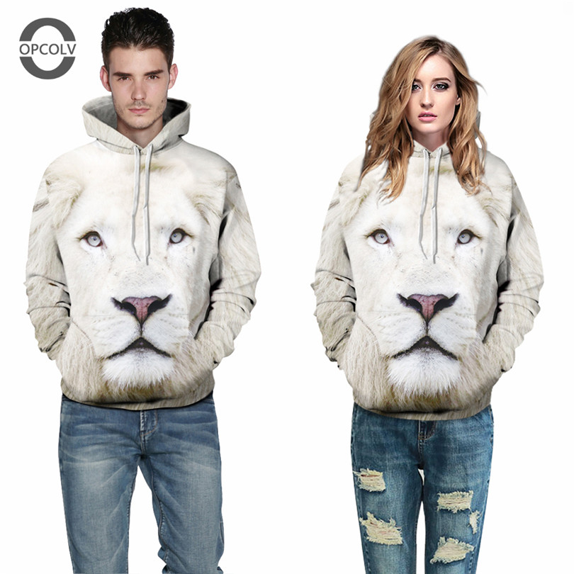 OPCOLV Harajuku Nostalgia Craze Hooded Sweatshirt 2016 White Lion 3D Printed Hoodies Men/Women Casual Pullover Winter Sportwear(China (Mainland))