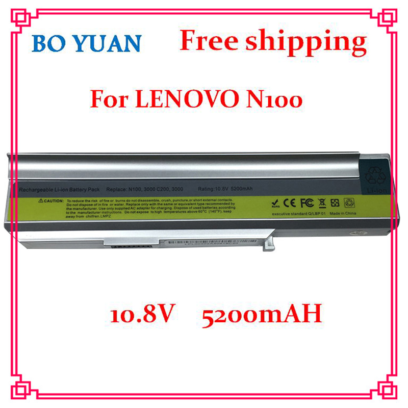 Brand New 10.8V 5200mAh 6 Cells Laptop Battery for LENOVO 3000 C200 N100 N200 40Y8315 42T5213 92P1183 92P1184 New Freeshipping(China (Mainland))