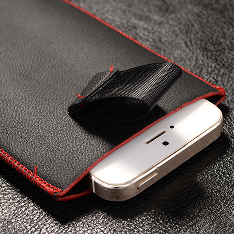 Red border Top grade Universal Holster skin Waist Leather Pouch Cover Case For Newsmy Newman N1(China (Mainland))