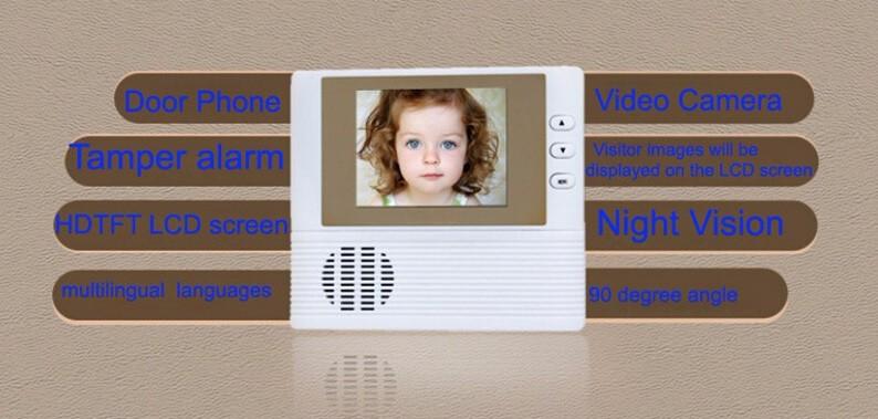 Видео глаз кольцо дверной звонок камера беспроводной глазок 2 8 дюймов TFT lcd 3X зум 1.4