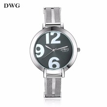 Buy DWG Fashion Elegant Women Analog Quartz Watch Stainless Steel Large Case Silver Mesh Band Wrist Watch for Ladies Wristwatches for $9.22 in AliExpress store