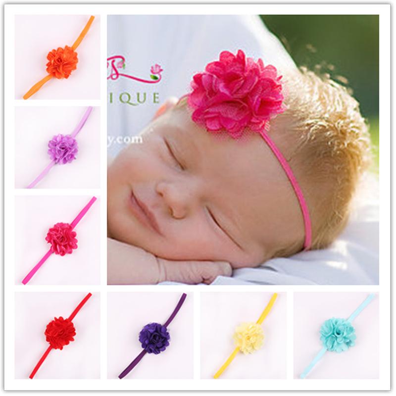 Europe New Hot Children Satin Mesh Flower Hair Band Newborn Headband Baby Hair Accessories Photographed Hair Tools W062(China (Mainland))