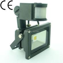 12V 10W Cool  Wram White PIR Motion Sensor LED Wash flood light Lamp Outdoor IP65 Black CN(China (Mainland))