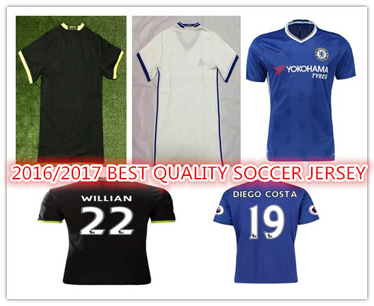 New Top Quality 2016 2017 Chelseaes 16 17 home blue HAZARD DIEGO COSTA CUSTOM shirt free shipping SS()