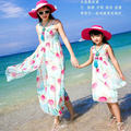 Mother Daughter Dresses 2017 Mom and Daughter Beach Dress Chiffon Family Dresses Summer Family Look Girl