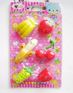 free shipping Wholesale 10set/lot Fruit, rubber / banana strawberry grapes rubber / rubber Simulation erase