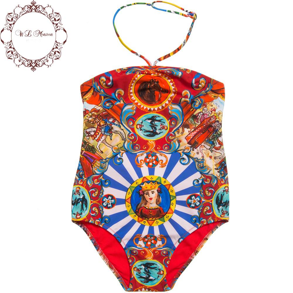 Girls Swimwear Kids Bathing Suits Girls One Piece Bikini 2016 Brand Girls Swimsuit Kids Swimwear Floral Print Toddler Swimwear(China (Mainland))