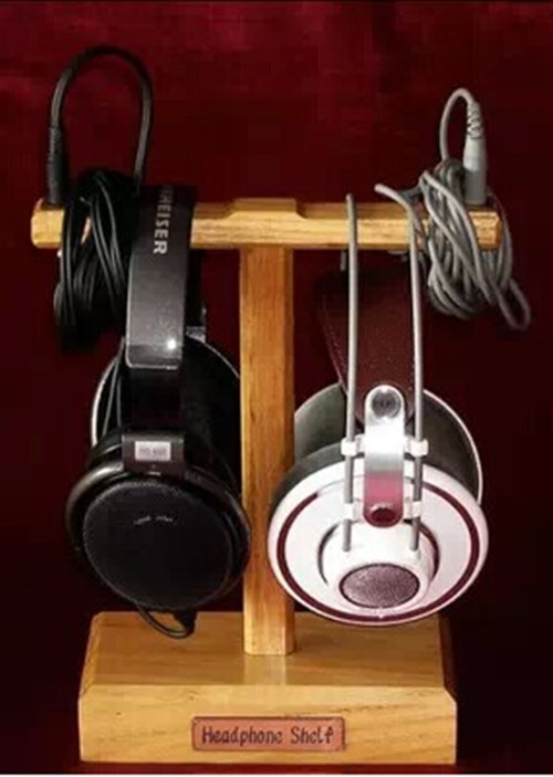 Wooden Dual Double Headphone Ear Pads Dispaly Show Stand Holder Headset Accessories Earphone Selling Market Home Decoration(China (Mainland))
