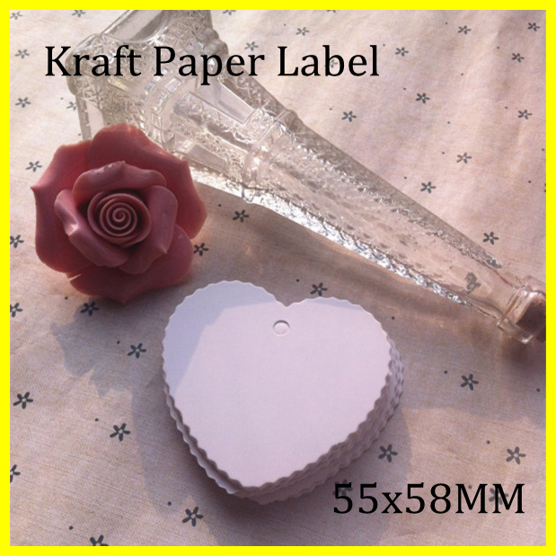 55x58MM Free Shipping 300pcs Blank White Kraft Paper Marked Blank Card Hand Draw Tags Labeled Card Peach heart lace(China (Mainland))