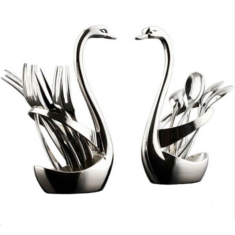 Гаджет  Swan Dinnerware spoon sets 7pcs/set 3 spoon+3 fork+1 holder wedding party tableware set dinnerware sets free shipping Q-264 None Дом и Сад
