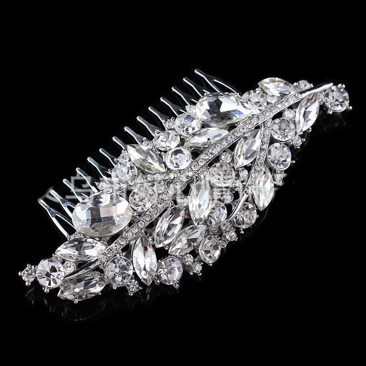 Stylish Wedding Tiara Geometric Crystal Leaf Shape Vintage Hair Comb Hairwear Jewelry Accessories - Blue Stone store