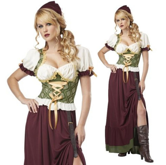 Free Shipping Hot Sale Custom MadeSexy Medieval Peasant Tavern Wench Halloween Cosplay Costume Tailor-Made(China (Mainland))