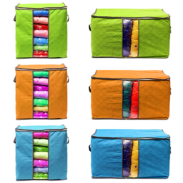 New Foldable Bamboo Charcoal Cloth Storage Bag Clothes Pillow Organizer Box 2 Sizes 3 Colors(China (Mainland))
