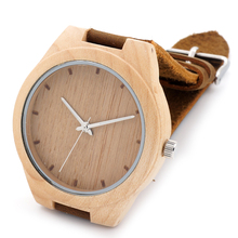 New Styles Maple Wood Watches Men's Luxulry Brand Clock Leather Band Wooden Bamboo Wristwatches relojes hombre