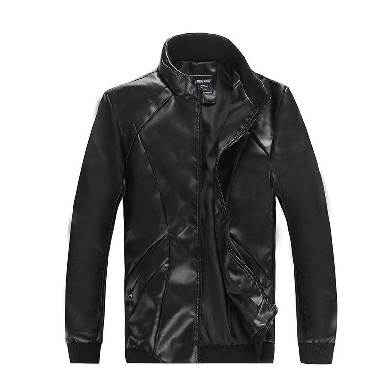 Menu0026#39;s Thin Leather Jacket Big Size Black Men Motorcycle PU Leather Jacket Hip Hop Punk Slim Fit ...