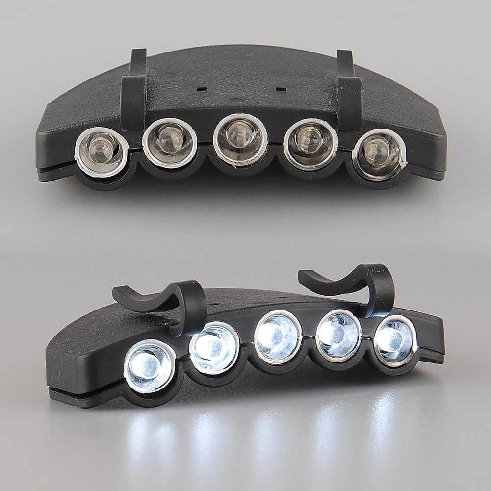 5LED Headlight HeadLamp Flashlight Cap Hat Torch Head Light Lamp Outdoor Fishing Camping Hunting Clip On