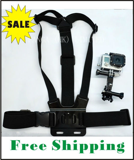FREE SHIPPING Chest Mount Harness Chest Strap Belt with 3-way point For Gopro Hero1 Hero2 Hero3 adjustable Camera (with pouch)