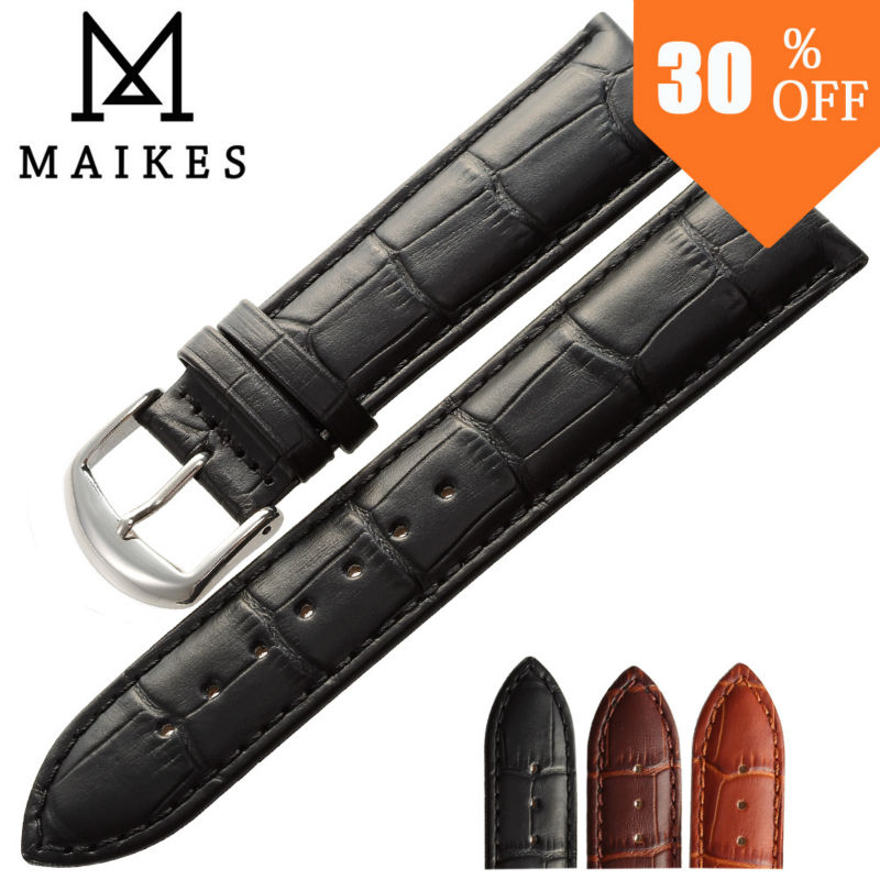 MAIKES new product Black Brown watchband genuine leather watch band 18mm 20mm 22mm high quality watch strap(China (Mainland))