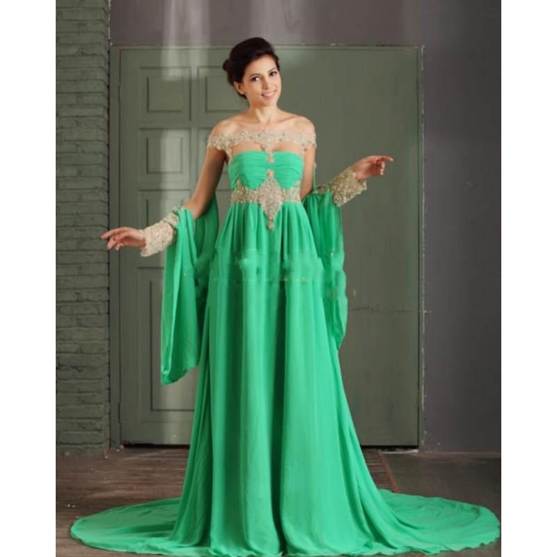 Elegant A-Line Spring Green Evening Dresses Off Shoulder Fancy Abaya Chiffon Beading Arabic Kaftan Caftan Dress In Dubai Prom(China (Mainland))