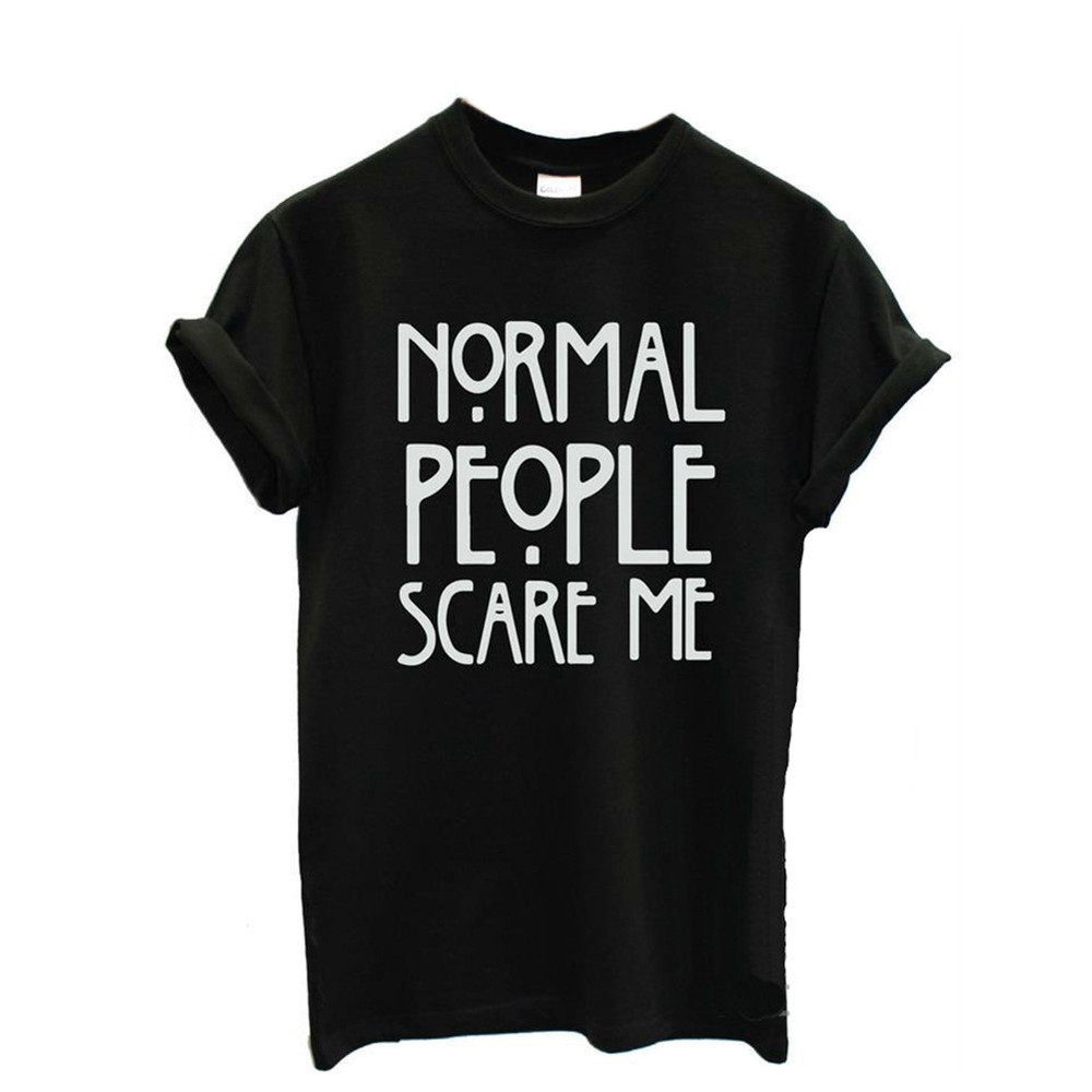 Feitong Summer Harajuku T Shirts Women Normal People Scare Me Casual Letter Print Short Sleeve Cotton Loose Tops tee Shirt femme(China (Mainland))