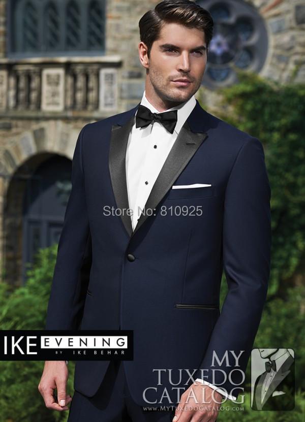 wedding suits men groom wear navy custom made suit wool bleed tuxedo 2015  -  yan xiong's store store