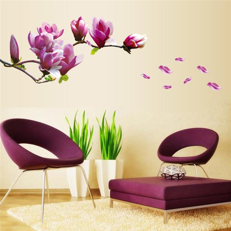 Durable Nature Fresh Romantic 3D Flower/Lotus/Magnolia Flower/Tulips/Plum Blossom PVC Wall Sticker Home Decor For Living Room(China (Mainland))