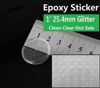 "1000pcs 1"" epoxy adhesive circle stickers glitter Self Adhesive Sticke 3D effect Clear Round Epoxy Domes"
