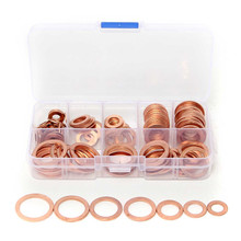 Different Quality 120PCs Solid Copper Washers Sump Plug Assorted Washer Set Plastic Box 8 Size Watch Repair Tool