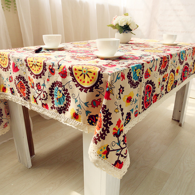 High Quality Table Cloth National Wind Explosion Models Cotton Linen Tablecloth Sun Flower Tablecloths Home Textile(China (Mainland))