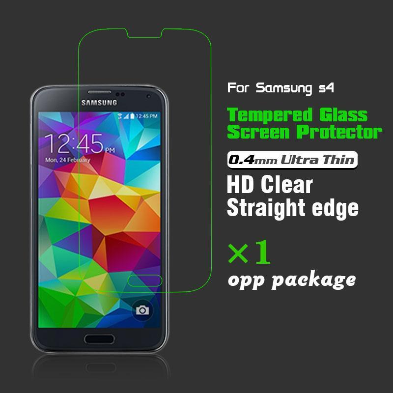 0.4mm Premium Quality Tempered Glass Screen Protector Film for Samsung Galaxy S4 i9500(China (Mainland))