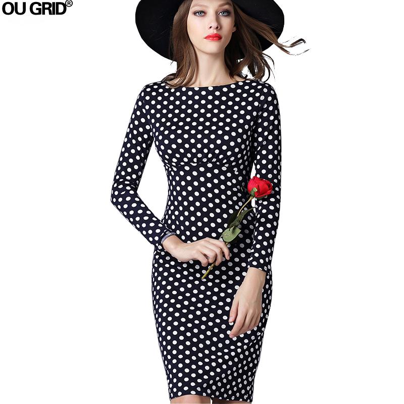Women Office Dress New Arrival 2016 Fashion Polka Dots ...