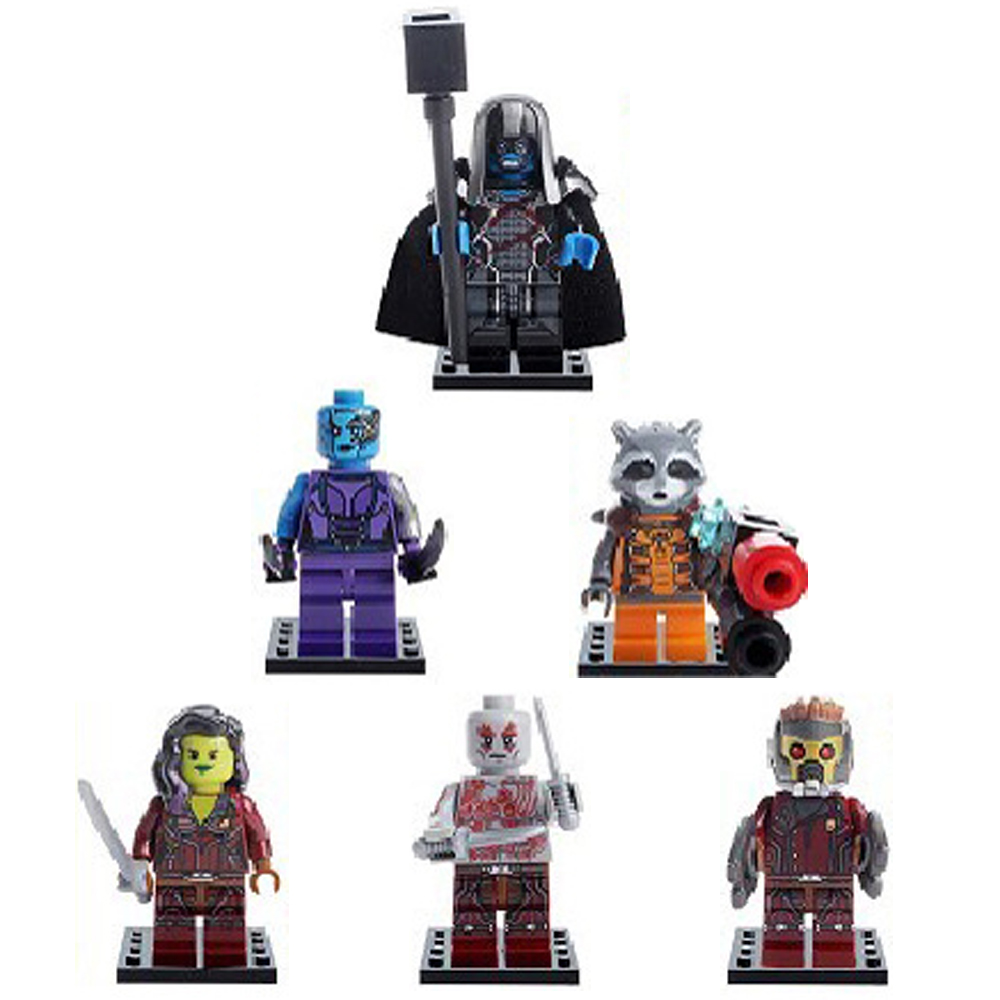 6pcs/lot Guardians of the Galaxy Super Hero Kid Baby Toy Mini Figure Building Blocks Sets Model Toys Minifigures Brick<br><br>Aliexpress