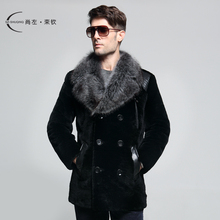 2013 winter sheep shearing fur collar fur one piece leather clothing male thermal outerwear(China (Mainland))