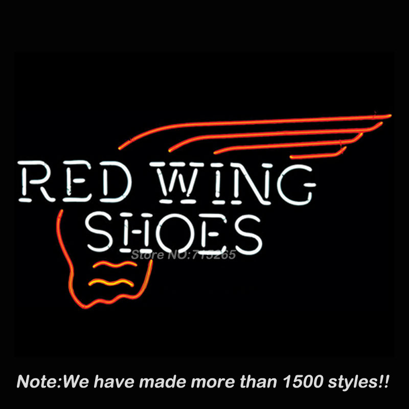 Red Wing Neon Sign Shoes Neon Bulbs Store Display Real Glass Tube Custom Design Outdoor a Frame Sign Neon Window Lights 19x15(China (Mainland))