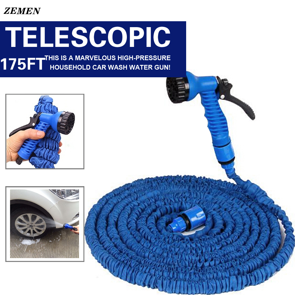 ZEMEN high quality magic expandable garden hose reels stretch 53M watering 175ft blue water hose+EU connector spray gun hot sale(China (Mainland))