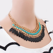 Collier Femme Bohemian Resin Beads Collares Water Drop Pendant Necklaces Gold Choker Colar for women jewelry Accessories AC0009(China (Mainland))