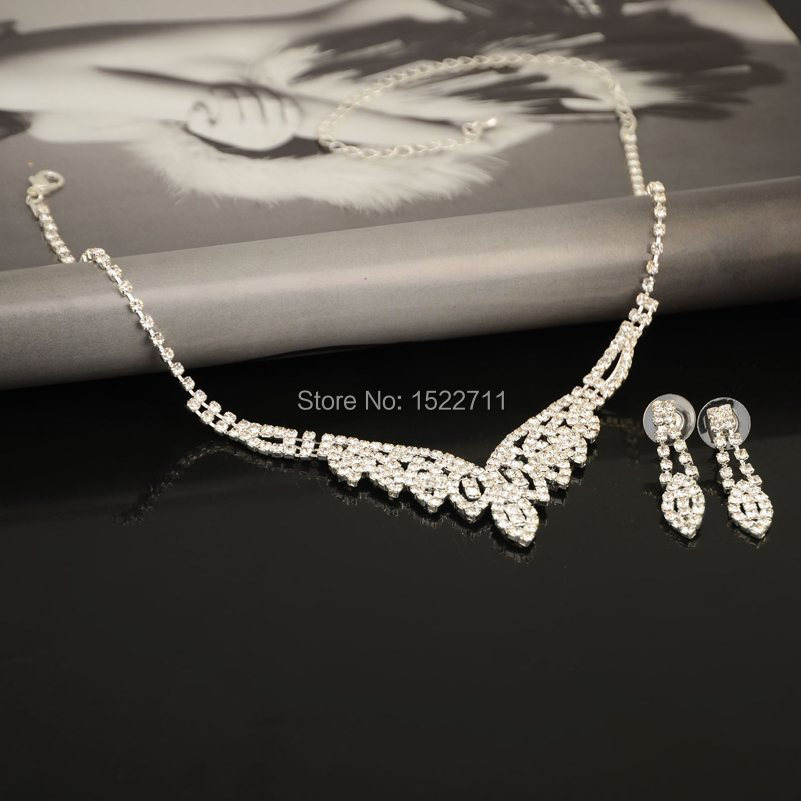 Shining Rhinestone Crystal Necklace/Earrings Set Charm Wedding Bridal Bridesmaid Jewelry Sets For Women Fashion Jewelry