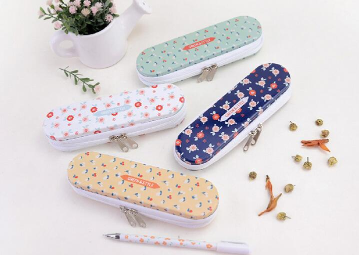 New Vintage Flower series Zipper Tin pencil case / Pencil box / Zakka styles office and school supplier / wholesale(China (Mainland))
