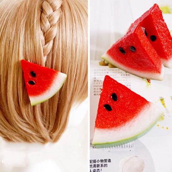 Sale Free Shipping 1 Piece New Red Cute Barrettes Watermelon Hair Band Rhing Women Hair Clip Ponytail Hairpin Accessories(China (Mainland))