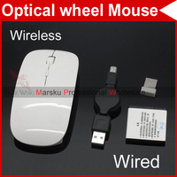 Ultra Slim USB Stretchable Wired Wireless Optical wheel Mouse Mice Rechargeable w/Mini receiver #4571