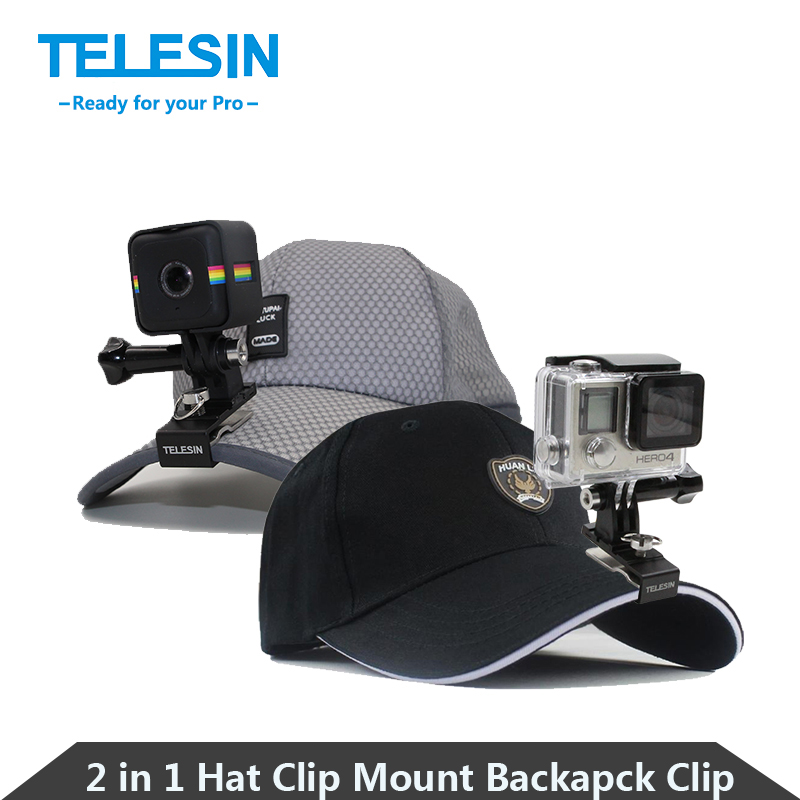 TELESIN 2 in 1 Aluminum Cap Hat Clip Mount Stand Adapter Rotary Backpack Clip for GoPro, Polaroid, SJCAM, Xiaomi Yi 4K Cameras(China (Mainland))