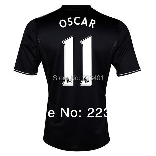 Top Thai quality 13/14 Chelsea away soccer jersey 2013/2014 chelsea Oscar 11 black cfc team football shirt kit uniform fc set(China (Mainland))