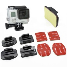 New 8Pcs Flat Curved Adhesive Mount Helmet Accessories For Gopro Hero4 3+ 2 1 Kit GP10 Free Shipping