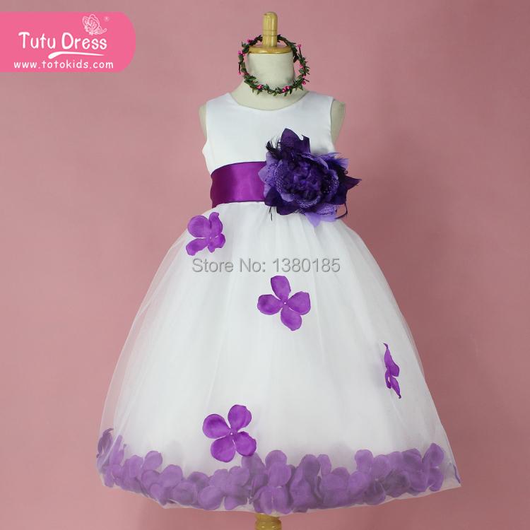 Flower Girl Dresses WHITE with Rose Petal Dress Wedding Easter Bridesmaid For Baby Children Toddler Teen Girls(China (Mainland))