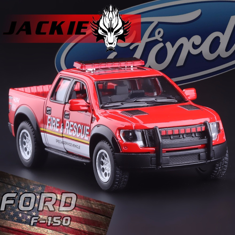 Cool 1:46 Ford F150 Raptor Off-road Pickup Truck Police Fire Rescue Car Alloy Pull Back Toy Car Model Two-door Car For Baby Gift(China (Mainland))