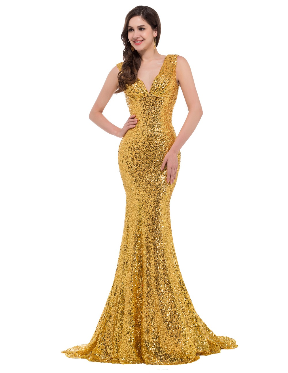 Creative Sweet Aperitif Dress In Gold For Women  Aoope